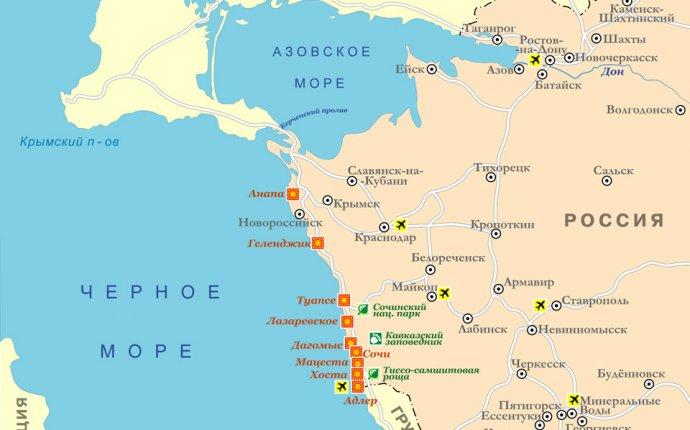 Карта Краснодарского края, подробная карта с городами - Анапа