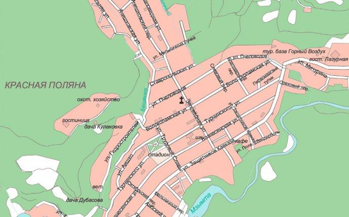 Курорты Краснодарского края. Карта города Сочи. Карта Адлера