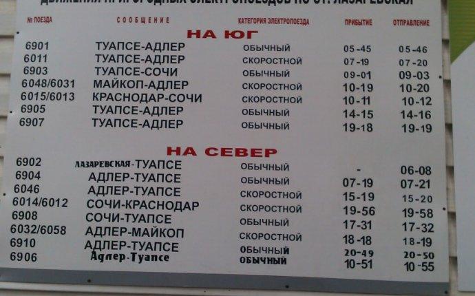 Расписание электропоездов (ст.Лазаревская, ст.Сочи, ст.Хоста) +